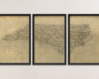 Old North Carolina Map Art Print 1893 Antique Map Archival Reproduction, Set of 3 Prints