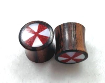 100% Handmade Organic Brown Sono Plugs with Crushed Red Coral & Mother of Pearl