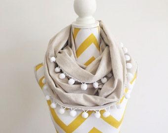 Adult Sewn Natural Cream Pom Pom Infinity Scarf // Linen Cream White  Infinity Scarf // Womens Girls Circle Scarf // Fabric pom pom scarf