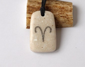 Aries necklace, Aries pendant, Aries jewelry, Zodiac charm, Zodiac necklace, Zodiac jewelry, Zodiac pendant, Scrimshaw, Stone necklace