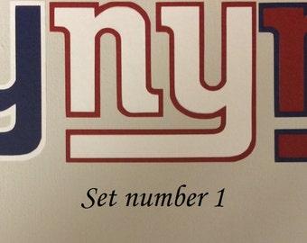 NY Giant, Set of 3 outdoor vinyl Logo