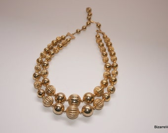 Mid Century Gold Ball Stacking Bib Necklace, Couture Runway Heavy Goldtone Necklace, Mad Man 1950s Gold Necklace Adjustable Length