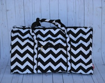 Black Chevron Monogrammed  Duffle bag