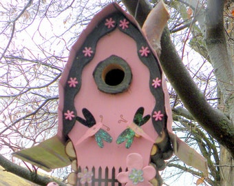 Razz ma Tazz Birdhouse, pink and black and all that jazz with dragonflies and faux chimney and wire fret work smoke