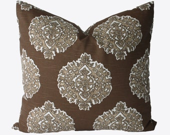 Decorative Designer Lacefield Medallion, Brown, 18x18, 20x20, 22x22 or Lumbar Throw Pillow