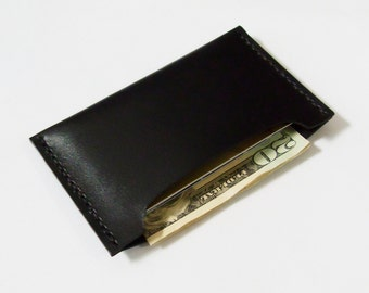 Card Case - Leather Card Holder in Black - Simple Wallet for Men - Handmade and Hand Stitched - Free Monogram
