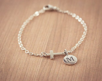 Small Sideways Cross Initial bracelet, Sterling Silver Cross Bracelet, Cross Bracelet, Petite Cross, Religious Jewelry, Celebrity Inspired