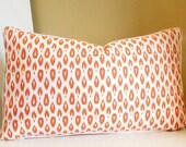 12 x 18 Lumbar Pillow Cover, Orange Lumbar pillow with small Ikat print - Pick your size and trim