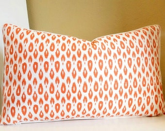 12 x 18 Lumbar Pillow Cover, Orange Lumbar pillow with small Ikat print - Pick your size and trim