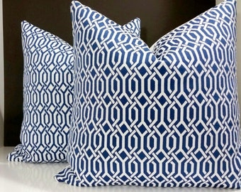 Navy pillow cover trellis print, All Sizes available - Trellis fabric both sides - Beach house decor - Nautical Pillow Cover