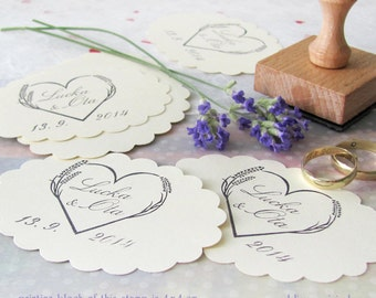 Lavender heart: personalised stamp (4x4 cm)