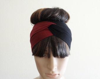 Burgundy And Black Headband. Twist Head Wrap