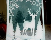 "Stampin up! CottageCutz Handstamped ""Greetings of the Season"" card NEW"