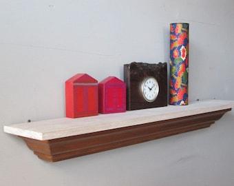 shelf - salvaged wood shelf - reclaimed wood shelf - small wall shelf - reclaimed wood - dark wood shelf - crown molding shelf - wall shelf