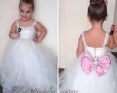 Flower Girl Dress - Lace Dress - Big Bow Dress - CAPRI DRESS w/Crystal Straps - Wedding Dress by Isabella Couture