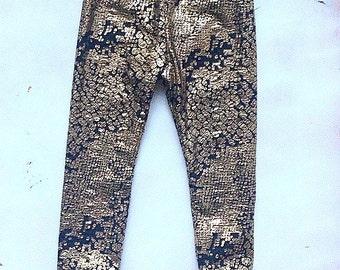 Sparkle Leggings - Gold leggings - Metallic Print Leggings - Baby leggings - ALL SIZES