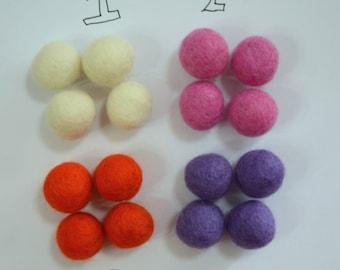 20pcs 2cm Wool Felt Balls (Pick 1 Color): White, Pink, Orange, Or Purple