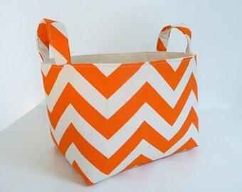Storage Basket Fabric Organizer in Zig Zag Mandarin Orange Natural Chevron with Handles - Gift Basket - Choose Size