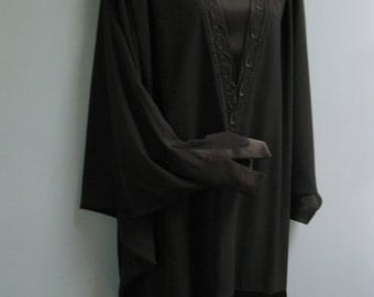 Vintage 1980's Black Batwing Dress Architectural Couture