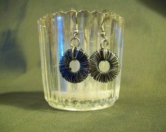 Black Wire Wrapped Washer Earrings