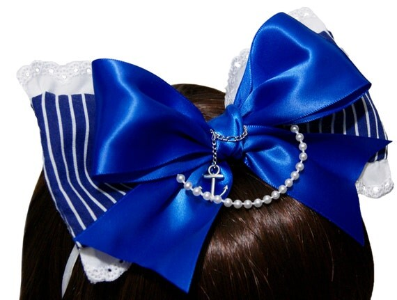 Cobalt Blue and White Nautical Sailor Bow Headband - Made to Order