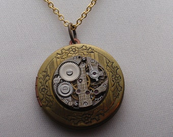 Steampunk Necklace, GORGEOUS IN GOLD, Floral Etched Locket with Exquisite Time Piece with Crosshatch Pattern