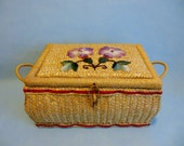 1950's Woven SEWING BASKET * Vintage Sewing Tools/ Aids * Basket with Flowers * Mid Century Basket  * Sewing Aids