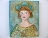 Art, Mixed Media Painting,Prairie chic, Wanderlust, bohemian art,  traveling girl, collage art, Painting