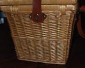 Tremendous Vintage Wicker Bag/ Purse/ Picnic Basket with Leather Strap and Closure ECS