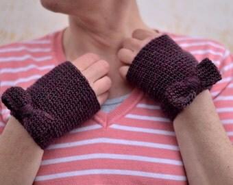 Bow mittens, knit fingerless gloves, burgundy crochet wristwarmers