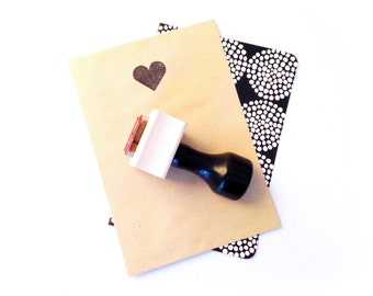 Small Heart Rubber Stamp - for Valentine's Day, Gifts, Invitations, Stationery, Scrapbooking - Wood Mounted with Handle OR Self-Inking
