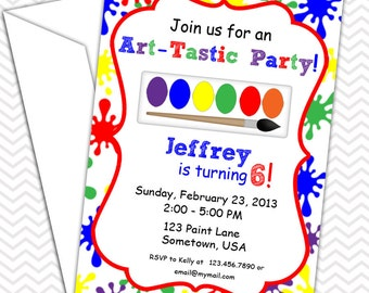 Art Party Invitations PRINTABLE - Birthday Party - Baby Shower - Painting