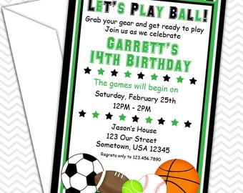 All Star Sports Party Invitations PRINTABLE - Birthday Party - Baby Shower