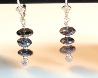 Glossy Mystic Labradorite and CZ earrings