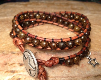 Bronsite - Leather Wrap Beaded Bracelet