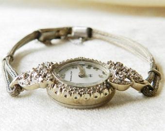 Antique Watch, Hamilton 14K Diamond Art Deco Watch, Diamond Watch 14K White Gold
