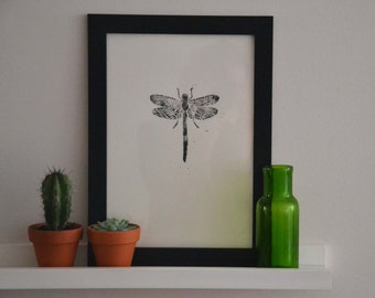 Dragonfly lino print poster