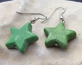 Star Earrings Green
