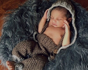Crochet Pattern for the Woodland Bonnet (sizes newborn-adult) and Suspender Pants (Newborn size only), PDF Instant Download