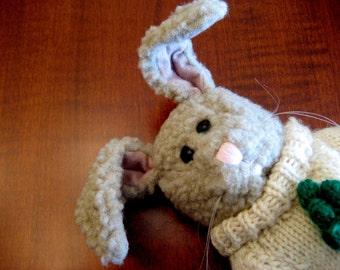 Stuffed Bunny Rabbit - Collectible Folk Art Rabbit Hare - Stuffed Toy Bunny Rabbit - Baby Shower Gift - Nursery Decor - Rabbit Collector