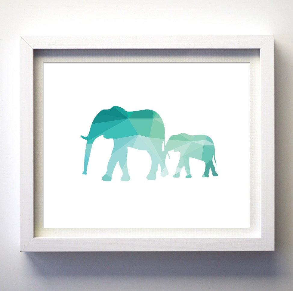 teal and white turquoise geometric elephants art print wall