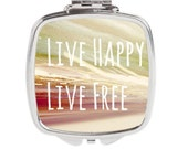 Silver Compact Mirror - FREE shipping to USA live happy live free purse mirror pocket mirrors square compact bulk mirrors typography