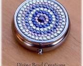 Silver Metal Rhinestone Crystal Bling Pink Purple Pill Medication Box Case Holder Gift