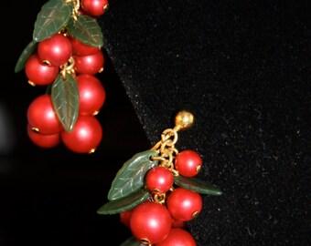 Vintage earrings satin berries with green leaves