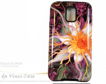 Lotus Flower Galaxy S5 Case - Bali Dream Flower - Green, Purple and Orange Floral Case For Galaxy S5