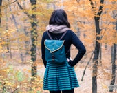SALE Teal Leaf Mini Backpack, Women's Rucksack, Boho Festival Backpack, Waterproof, Toddler Backpack, Small Rucksack - READY to SHIP