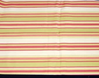 Fat Quarter Canvas Weight Fiesta Striped Cotton Blend, Muted Greens and Reds Stripes on Cream - 18 x 24 Inches - Quilting, Sewing, Apparel
