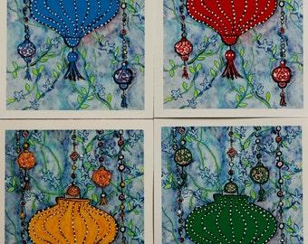 Chinese lantern cards