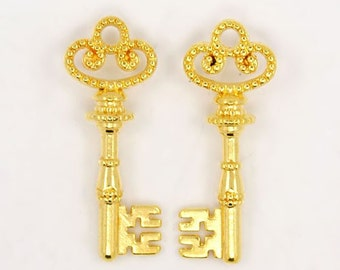 Bulk Skeleton Keys Wholesale Key Charms Pendants Shiny Gold 38mm 100pcs Wholesale Keys