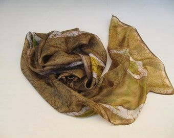 Hand painted silk scarf, wax batik technique, brown, green, yellow, white, floral motif, 180x50 cm